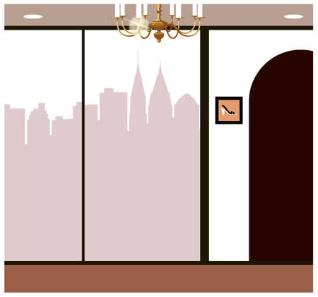 This illustration is a common cityscape. Skyline through window Stock Vector - 15903949