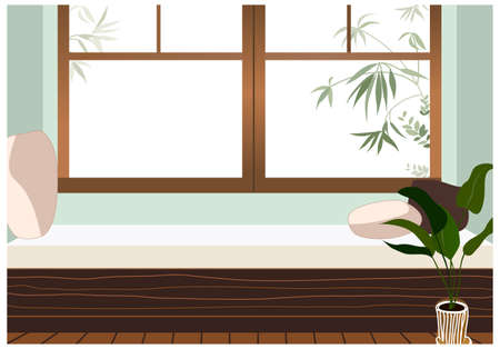 This illustration is a common cityscape. couch beside the window Stock Vector - 15901790