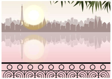 This illustration is a common cityscape. balcony overlooking sea with city skyline Stock Vector - 15947091
