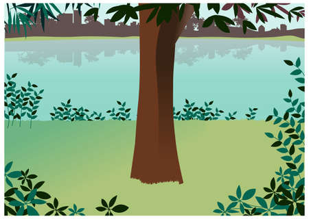 This illustration is a common cityscape. Trees overlooking lake Stock Vector - 15946893