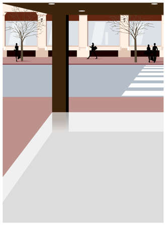 This illustration is a common cityscape. empty store corner Vector