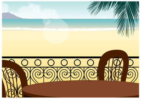 This illustration is a common cityscape. table and chair in front of beach Stock Vector - 15910474