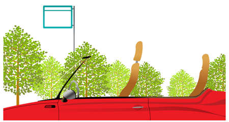 This illustration is a common cityscape. Close-up of car driving and tree Stock Vector - 15947170