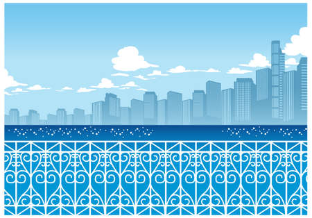 This illustration is a common cityscape. Railing overlooking sea with city skyline Illustration