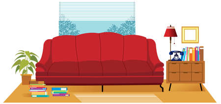 This illustration is a common cityscape. Living room interior Illustration
