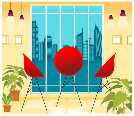 This illustration is a common cityscape. Table and chairs in front of window Stock Vector - 15903355