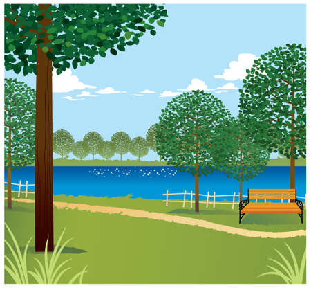 This illustration is a common cityscape. Green landscape with lake Vector