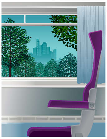 This illustration is a common cityscape. chair in front of open window  Stock Vector - 15947278