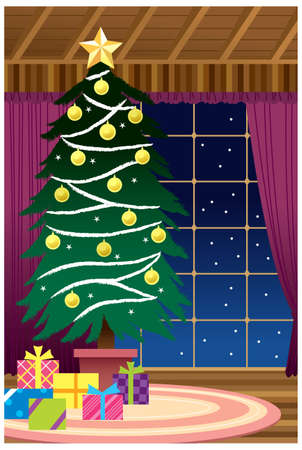 This illustration is a common cityscape. Christmas tree decoration Stock Vector - 15946311