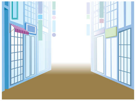 This illustration is a common cityscape. Building exterior in street Stock Vector - 15901841