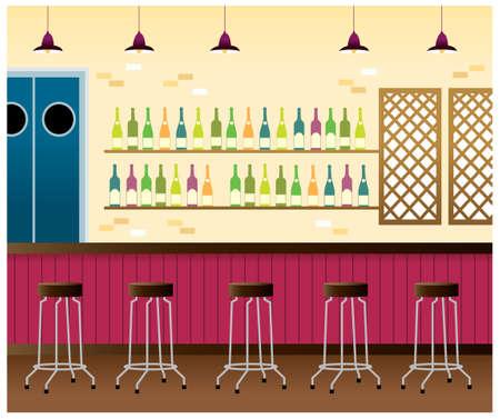 sgabelli: Questa illustrazione � un paesaggio urbano comune. bar interno Vettoriali