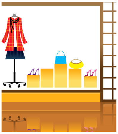 This illustration is a common cityscape. Window display in store Stock Vector - 15903228