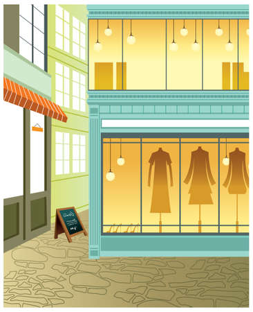 This illustration is a common cityscape. Window display in store Vector