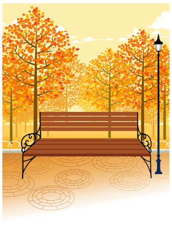 This illustration is a common cityscape. Bench and Lamp post on sidewalk Stock Vector - 15947546