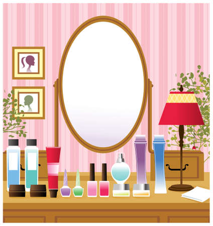 This illustration is a common cityscape. Dressing table Vector