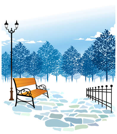 This illustration is a common cityscape. Bench and Lamp post in park Stock Vector - 15947693