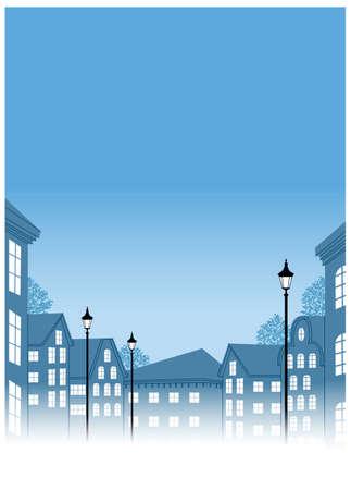 lamp post: Questa illustrazione � un paesaggio urbano comune. Edifici con palo in strada