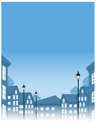 This illustration is a common cityscape. Buildings with Lamp post in street