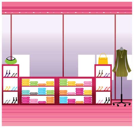 magasin vetement: Cette illustration est un paysage urbain commun. Vitrine en magasin