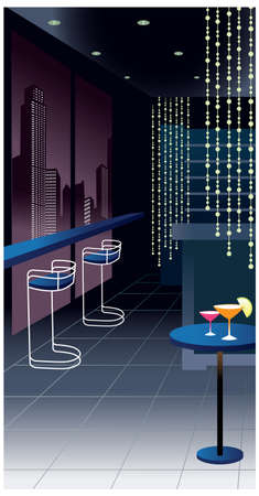 This illustration is a common cityscape. Night club interior Stock Vector - 15903757
