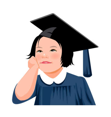 Portrait of girl wearing graduate dress Vector