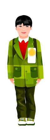 Portrait of boy with medal on coat Vector