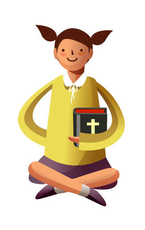 Portrait of girl holding bible in hand Stock Vector - 15946180