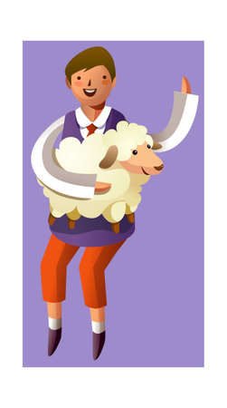 Portrait of boy holding sheep in hand Stock Vector - 15929505