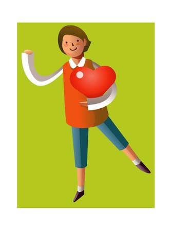 Portrait of boy holding heart shape Vector