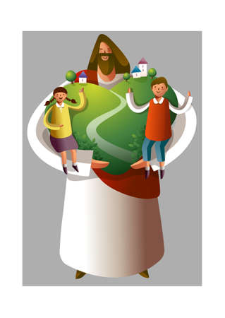 Jesus Christ holding boy and girl and heart shape environment Vector