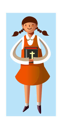 Portrait of girl holding bible in hand Stock Vector - 15903961