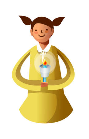 Portrait of girl holding candle Stock Vector - 15947378