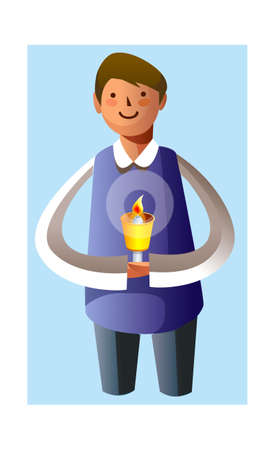 Portrait of boy holding candle Vector