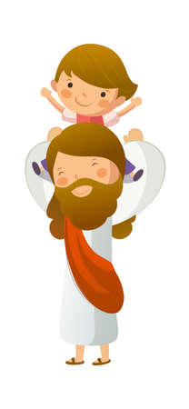 god figure: Jesus Christ carrying boy on shoulder