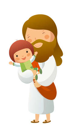god figure: Jesus Christ holding girl Illustration