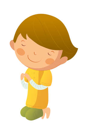 Portrait of boy praying Vector