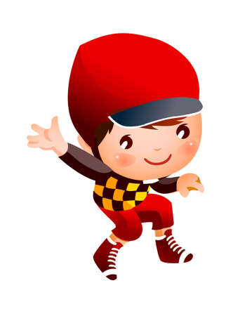 Boy wearing baseball outfit Vector