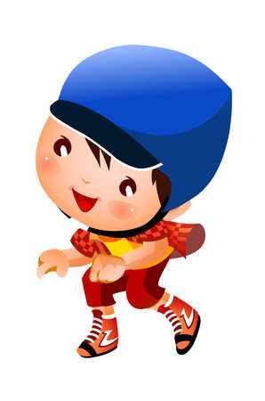 Girl wearing baseball outfit Vector