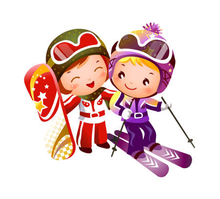 Boy and Girl skiing  Illustration