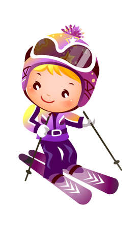 Girl Skiing Vector