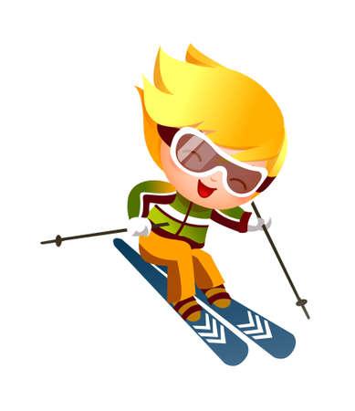 to ski: Boy Skiing