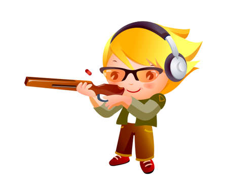 Girl shooting gun Vector