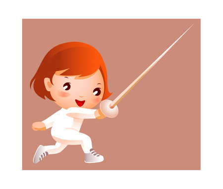 Girl in fencing costume  Illustration