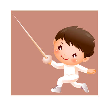 Boy in fencing costume  Vector