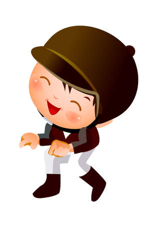 Boy in horsebacking riding costume Vector