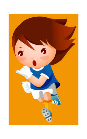 Girl in football player uniform Illustration