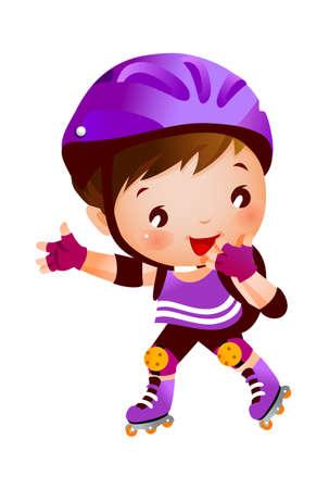 activity exercising: Boy on inline skates.