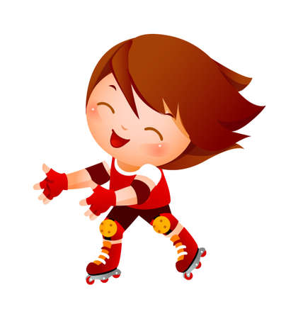 Boy on inline skates Vector