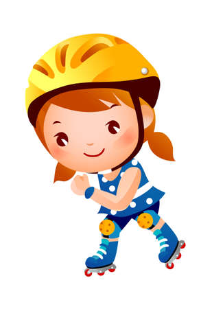 Girl on inline skates. Vector