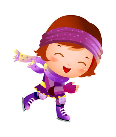 Girl on ice skate Vector